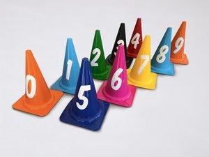 Afbakenkegel Set MK28 Genummerd 0 t/m 9 - Mix Kleuren