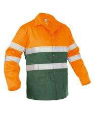 Werkjas Lins groen/oranje